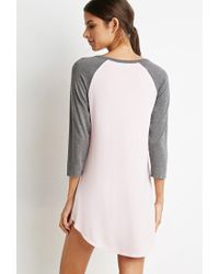 Forever 21 - Gray Raglan-sleeved Nightdress You've Been Added To The Waitlist - Lyst