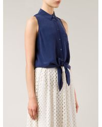 Equipment - Blue 'Mina' Front Tie Shirt - Lyst