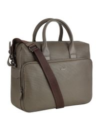BOSS - Gray Hilun Textured Leather Business Bag for Men - Lyst