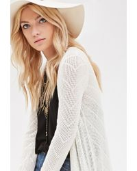 Forever 21 - Natural Chevron-patterned Maxi Cardigan - Lyst