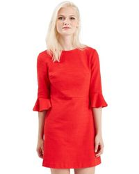 TOPSHOP | Textured Bell Sleeve Dress | Lyst