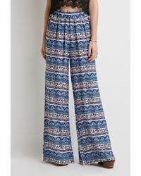 Forever 21 | Blue Abstract Striped Wide-leg Pants | Lyst
