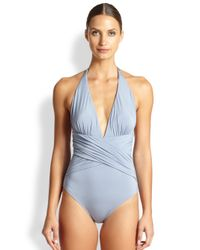 Lazul - Blue One-Piece Crisscross Plunging Swimsuit - Lyst
