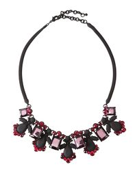 Fragments | Pink Rubber-coated Crystal Bib Necklace | Lyst