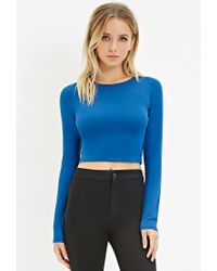 Forever 21 | Blue Cotton-blend Crop Top | Lyst