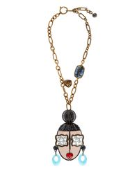 Lanvin - Metallic Zandra-Face Necklace - Lyst