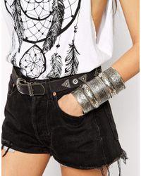 ASOS | Gray Chunky Etch Cuff Bracelet | Lyst