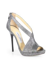 Jimmy Choo Gray Vision Glitter & Leather Crisscross Sandals