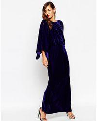 ASOS - Blue Red Carpet Kaftan Velvet Maxi Dress - Lyst
