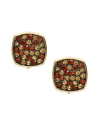 Lauren by Ralph Lauren | Metallic Pave Cushion Clip-on Earrings | Lyst