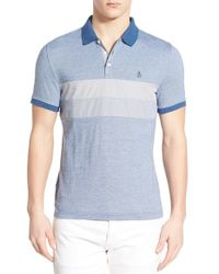 Original Penguin | Blue Pieced Chest Panel Polo for Men | Lyst