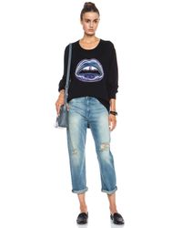 Markus Lupfer - Black Graphic Lara Lip Sequin Merino Wool Sweatshirt - Lyst
