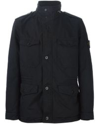 Stone Island | Black Buttoned Cargo Jacket for Men | Lyst