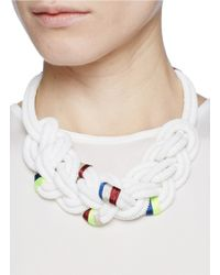 J.Crew | White Beaded Rope Necklace | Lyst