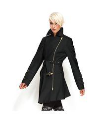 Bebe | Black Coat Asymmetrical Belted Trench Coat | Lyst