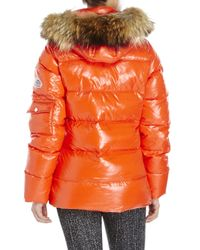 Pyrenex | Orange Authentic Shiny Real Fur Trim Down Jacket | Lyst