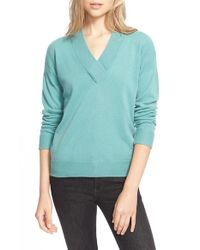 Burberry Brit - Green Cashmere V-neck Sweater - Lyst