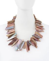 Kenneth Jay Lane | Agate Rocker Necklace Pink | Lyst