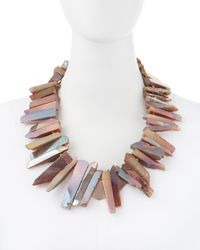 Kenneth Jay Lane - Agate Rocker Necklace Pink - Lyst