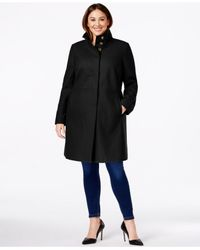 Via Spiga | Black Plus Size Stand-collar A-line Coat | Lyst