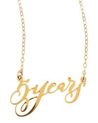 Brevity - Metallic 5 Years Anniversary Calligraphy Necklace - Lyst