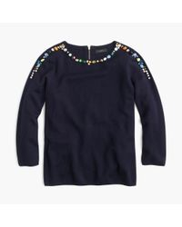 J.Crew | Blue Jeweled Crewneck Sweater | Lyst