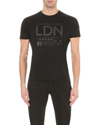 Armani Jeans | Black City Cotton-jersey T-shirt for Men | Lyst