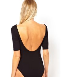 ASOS - Black Body With Scoop Neck And Half Sleeve - Lyst