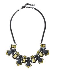 Fragments | Black Rubber-coated Crystal Bib Necklace | Lyst