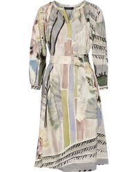 Burberry Prorsum - Gray Printed Linen And Silk-Blend Midi Dress - Lyst