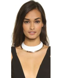 Tory Burch - White Wide Dipped Collar Necklace - Ivory/rose Gold - Lyst