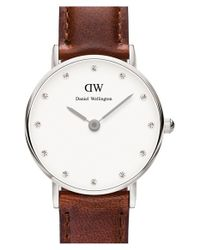 Daniel Wellington | Brown 'classy St. Mawes' Crystal Index Leather Strap Watch | Lyst