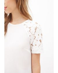 Forever 21 - Natural Lace-sleeve Raglan Blouse - Lyst
