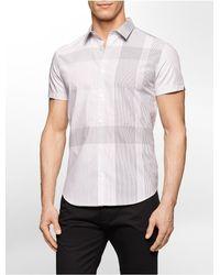 Calvin Klein | White Label Classic Fit Grid Stripe Cotton Shirt for Men | Lyst