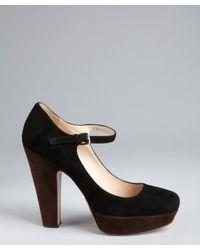 Prada - Black Colorblock Suede Platform Mary Jane Pumps - Lyst