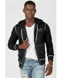 True Religion | Black Contrast Big T Stitch Mens Hoodie for Men | Lyst