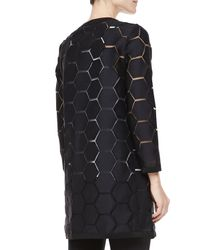 MILLY   Geometric Cocktail Coat Black   Lyst