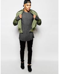 ASOS | Gray Waffle Jersey Longline Long Sleeve T-shirt In Oil Wash With Thumbholes for Men | Lyst