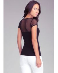 Bebe | Black Logo Mesh Sweetheart Top | Lyst