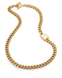Michael Kors | Metallic Padlock Single Station Chain Toggle Necklace | Lyst