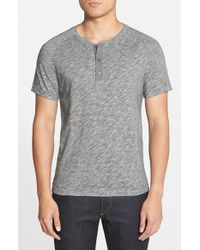 Vince - Gray Short Sleeve Henley T-shirt for Men - Lyst