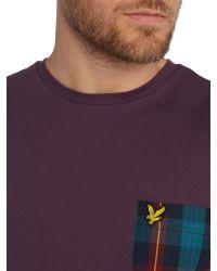 Lyle & Scott - Purple Tartan Woven Pocket Crew Neck T-shirt for Men - Lyst