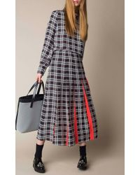 Mother Of Pearl | Red Dune Plaid Silk Skirt | Lyst