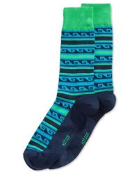 Hot Sox | Blue Modern Greek-stripe Crew Socks for Men | Lyst