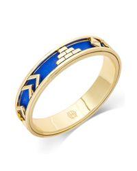 House of Harlow 1960 | Blue Goldtone Cobalt Leather Tribal Bangle Bracelet | Lyst