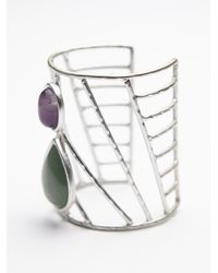 Free People | Green Womens Caged Stone Cuff | Lyst