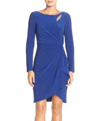 Adrianna Papell | Blue Cutout Jersey Faux Wrap Dress | Lyst