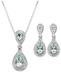 Macy's | Metallic Sterling Silver Earrings And Pendant Set, Aquamarine (7/8 Ct. T.w.) And Diamond Accent Teardrop | Lyst