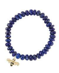Sydney Evan | Blue 8Mm Faceted Lapis Beaded Bracelet With 14K Gold/Diamond Small Bee Charm (Made To Order) | Lyst