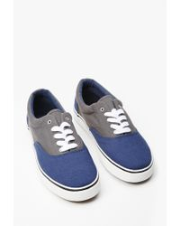 Forever 21 | Blue Men Colorblock Canvas Sneakers | Lyst